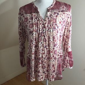 Lucky brand henley style mixed print top M